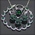 Verde Granate Plata 925 Sistemas de La Joyería Para Las Mujeres Pendientes/Anillos/Pendiente/Collar/Pulseras Regalo caja