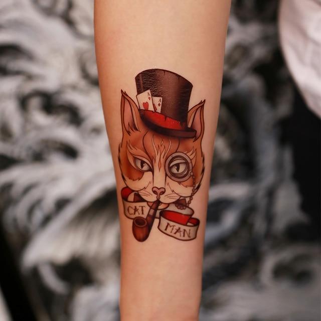 Handgelenk Tattoo Cool Cat Tragen Topper Arm Tattoo Wasserdicht
