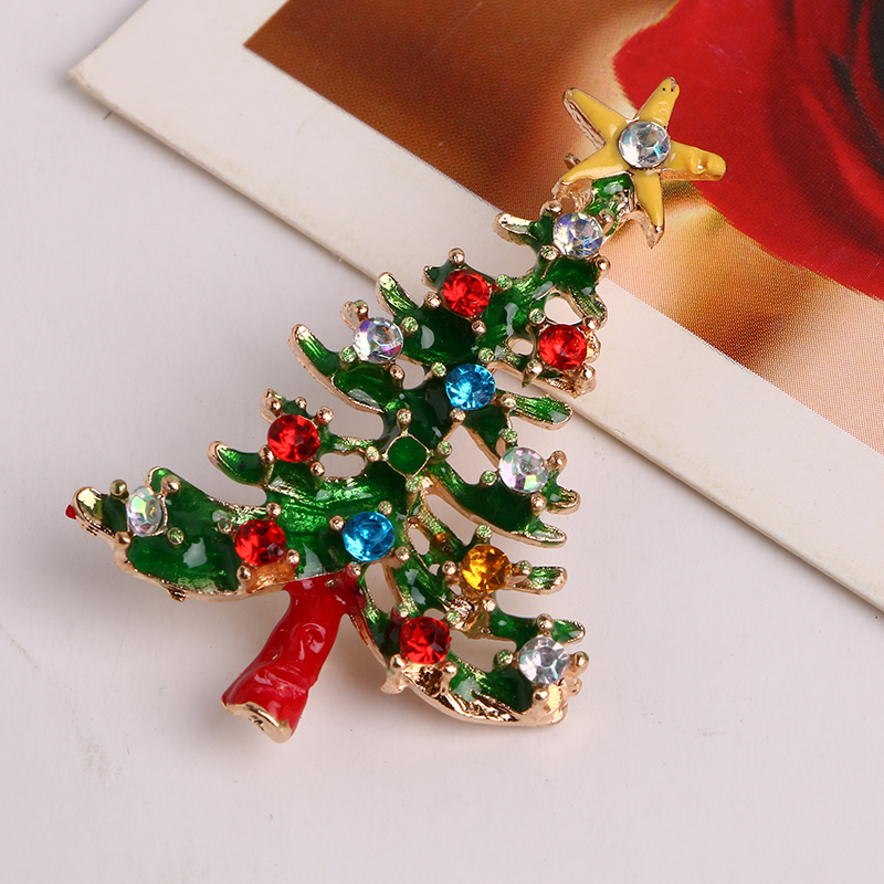 3 Pieces Set Christmas Jewelry Set With Christmas Tree Brooch Stud