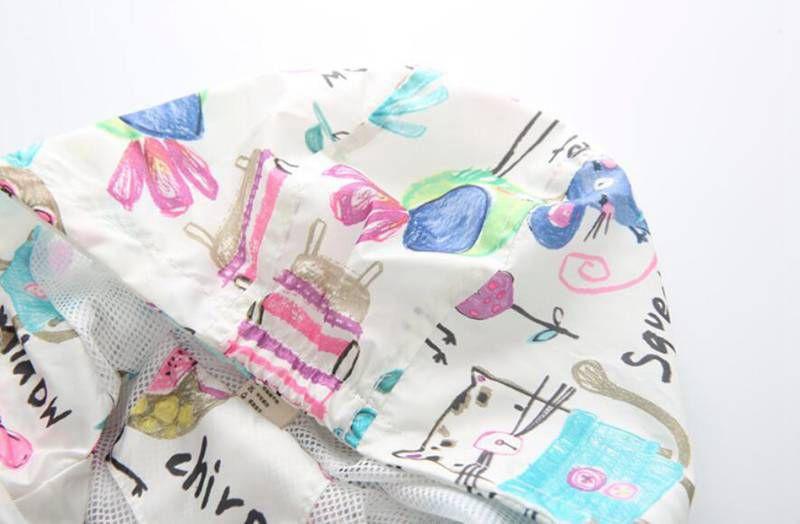 CUte Rabbit Graffiti Kids Jacket For Girls Trench Coats Spring Sunscreen Clothing Comfortable Girl Jackets Girls Outerwear Coats (4)