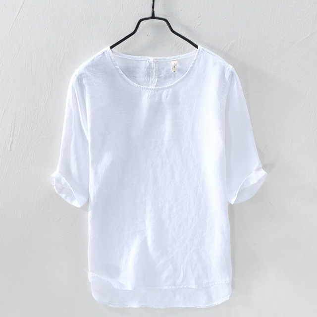 6cbc62c9f733 2018 Men's colorful o-neck short sleeve pure linen t-shirt white red gray  blue green summer casual t-shirts men 100% linen tees