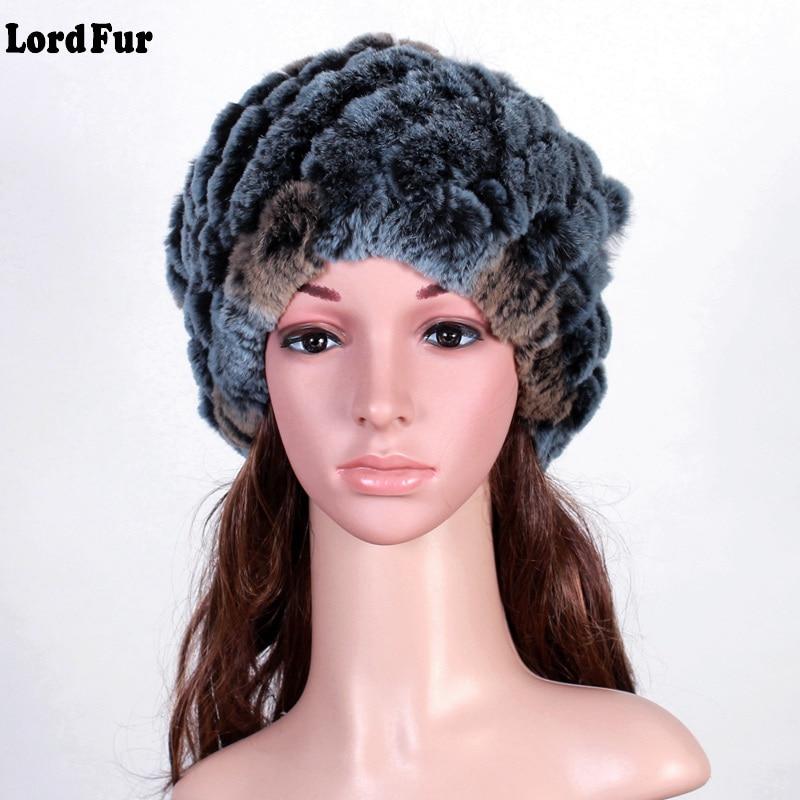 (Lord Fur) Handmade Russian Women's Real Rex Rabbit Fur Skullies Beanies Hats Female Winter Warm Fox Fur Caps Headgear LF4055 skullies