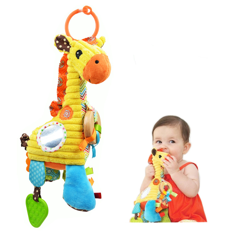 High quality New Baby Plush Toy giraffe Pull bell Multifunctional Bed Hanging appease Educational Teether Toys best gift