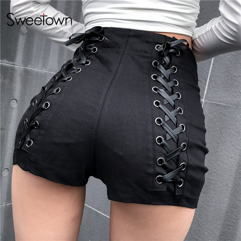 Sweetown Black Slim Gothic High Waist Shorts Women Hot Summer 2019 Streetwear Casual Punk Style Hip Criss-Cross Bandage Shorts
