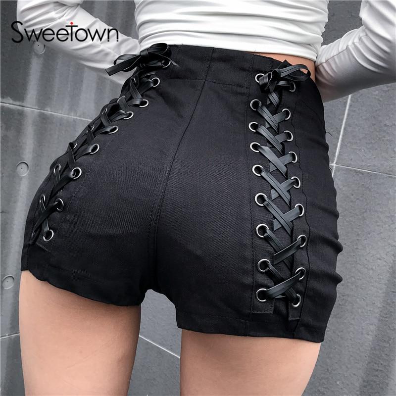 Sweetown Black Slim Gothic High Waist Shorts Women Hot Summer 2019 Streetwear Casual Punk Style Hip Criss-Cross Bandage Shorts 5