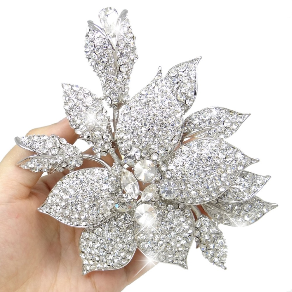 Bella Fashion Large Orchid Flower Bud Rhinestone Brooch Pins Austrian Crystal Wedding Brooches For Women Party Jewelry Gift цена 2017