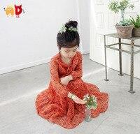 AD Girls Quality Chiffon Dresses Age 2 7 Parent Child Spring Summer Floral Orange Bohimian Dresses