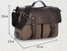 Men Canvas Vintage Casual Briefcase Business Shoulder Bag