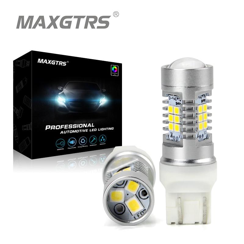 2x 7443 T20 W21/5W Warm White Reverse Stop 2835 21SMD LED Auto Turn Signal Brake Bulb Lamps 12V DC Parking Leds Rear Lights
