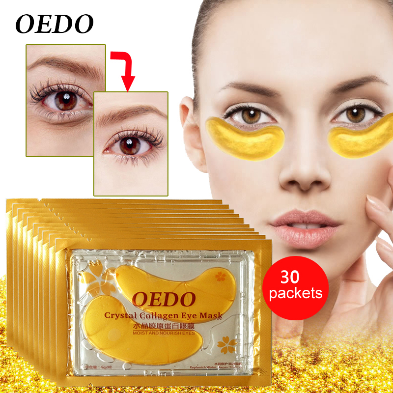 60pcs=30packs Beauty Gold Crystal Collagen Eye Skin Care Eye Patches For Dark Circles, Puffiness, Wrinkles And Bags Eye Gel