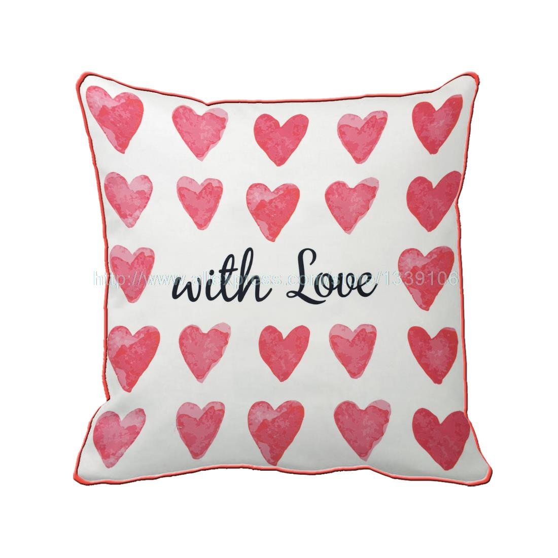 With Love Full Hearts Valentines Custom Gift Cushion For Sofa Chair Home Decor Accent Throw Pillow Decorative Pillows Coussin
