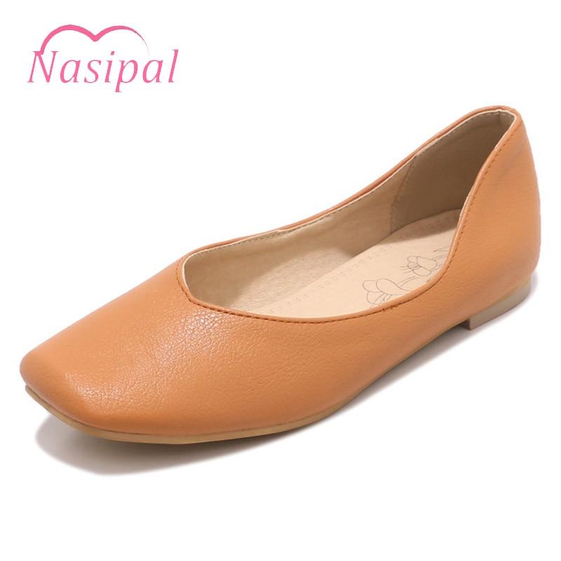 цена на Nasipal Soft PU Leather Flat Women Ballet Flats Shoes Women Plus Size30-50 Black Square Toe Loafer Shoes For Lady Ballerina C257