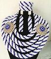 Роскошные Нигерии Свадьба комплекты ювелирных изделий кристалл бисера 4 слоя оплетка ручной работы африканских набор ювелирных украшений из бисера