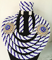 Abalorios de lujo de Nigeria Boda cristalina sistemas de la joyería del grano 4 capas trenza africana hecha a mano del grano de la joyería