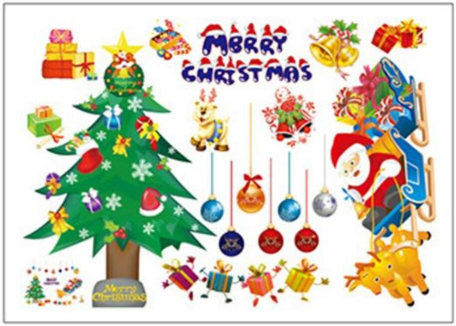 Wholesale Furniture Accessories Cute Cartoon Santa Claus sticker Self-adhesive Removable Christmas Wall stickers