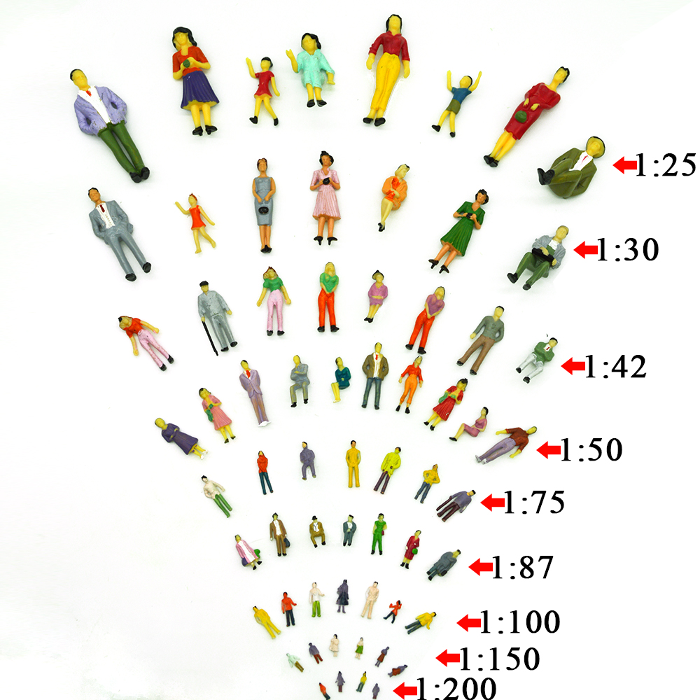 100pcs Train Model Scale Architectural Model Making Figures People Model Train Layout Scale You Can Choose Toys The Collection