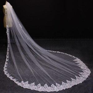Image 4 - Nova uma camada 4 metros bling lantejoulas borda do laço de luxo longo véus casamento com pente alta qualidade branco marfim véu nupcial