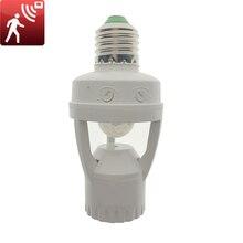 Sensor de movimiento infrarrojo IR humano E27, Base DE INTERRUPTOR de enchufe, soporte de lámpara de Bombilla Led, 110 220V, 360 grados