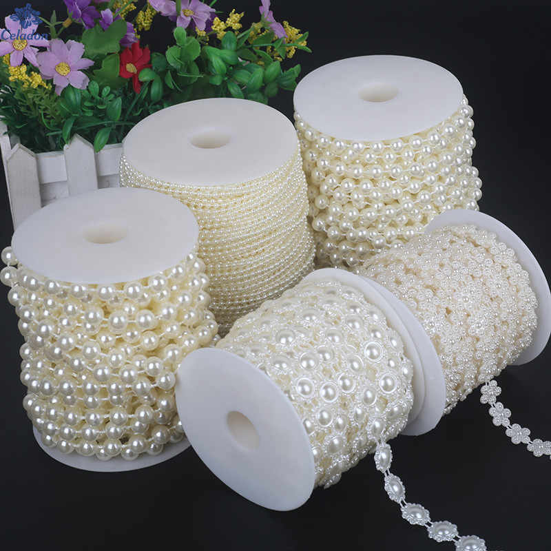 2-10 Meters Fishing Line Artificial Pearls Beads Chain For DIY Garland Wedding Party Decoration Supplies Bride Flowers Accessory