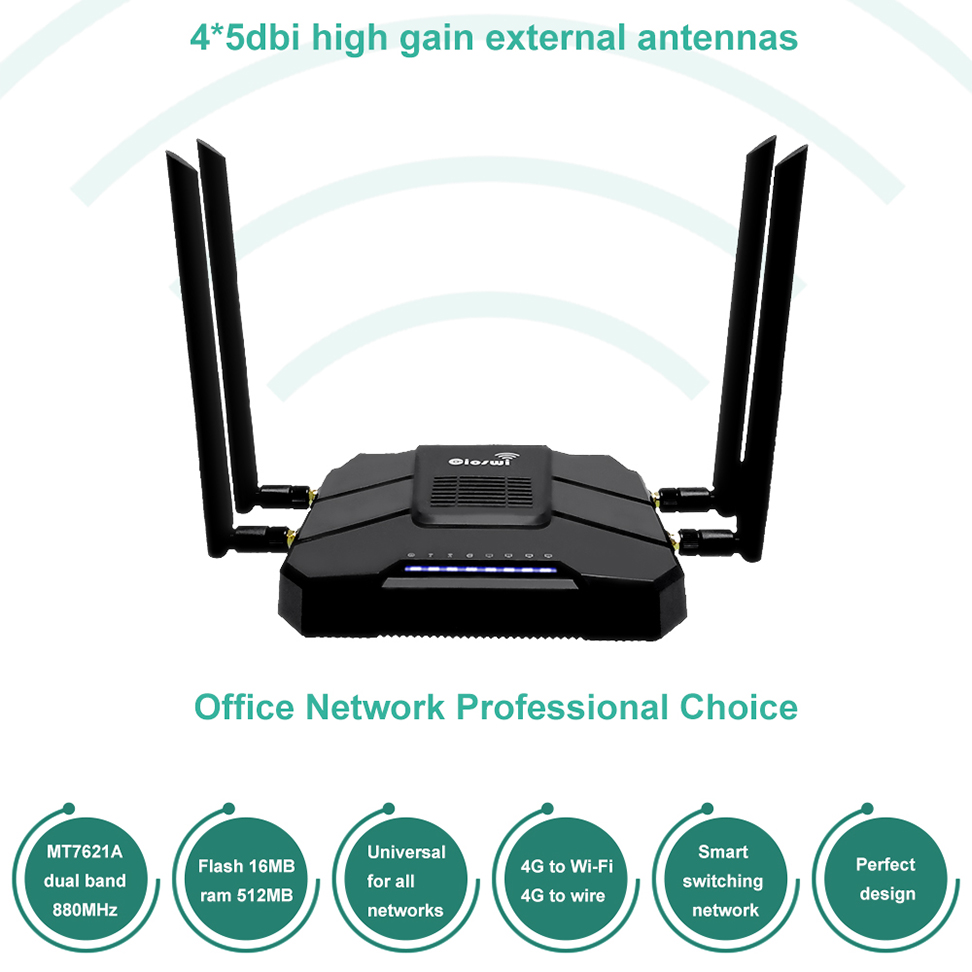 4G Modem SIM Card Wifi Router Openwrt Router For Usb Modem Ethernet Port 2.4g/5g Dual Band 1 WAN 4 LAN Gigabit Router