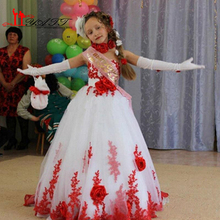New Design White and Red Girls Pageant Dress Flower Girl Dresses With Train Lace Appliques 2016 First Communion Dresses