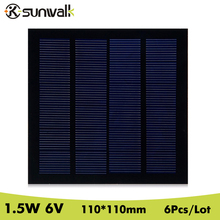 SUNWALK 6pcs 1.5W 6V Solar Panel Cell 250mAh Polycrystalline PET Mini Solar Panel Module 110*110mm for Test Education