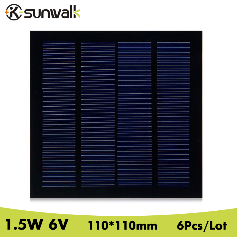 SUNWALK 6pcs 1.5W 6V Solar Panel Cell 250mAh Polycrystalline PET Mini Solar Panel Module 110*110mm for Test Education