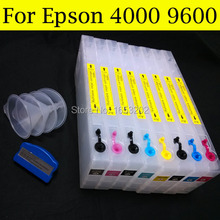 HOT and popular refill ink cartridge for epson 4000/9600 printer with T5441-T5448 ink cartridge good cartridge for epson 9600 7600 printer with t5441 t544 544 ink cartridge and chip resetter