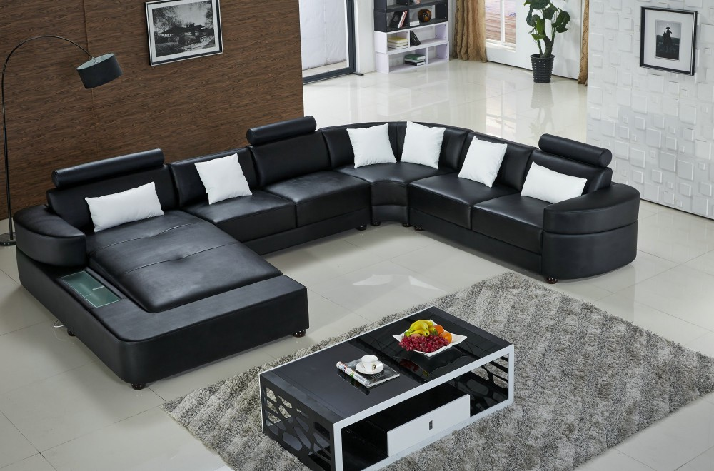 Hoekbank Leer Lounge.Lizz Black Modular Lounge And Sofa U Shaped Sofa Leather Sofa With