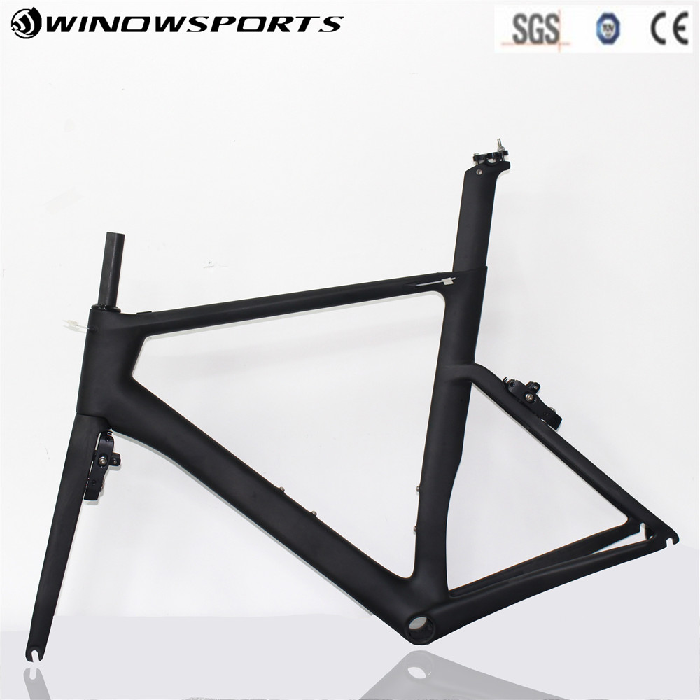 2018 New Hidden Brake Carbon Road Bike Frame UD Black Aero Full Carbon Road Bicycle Frameset