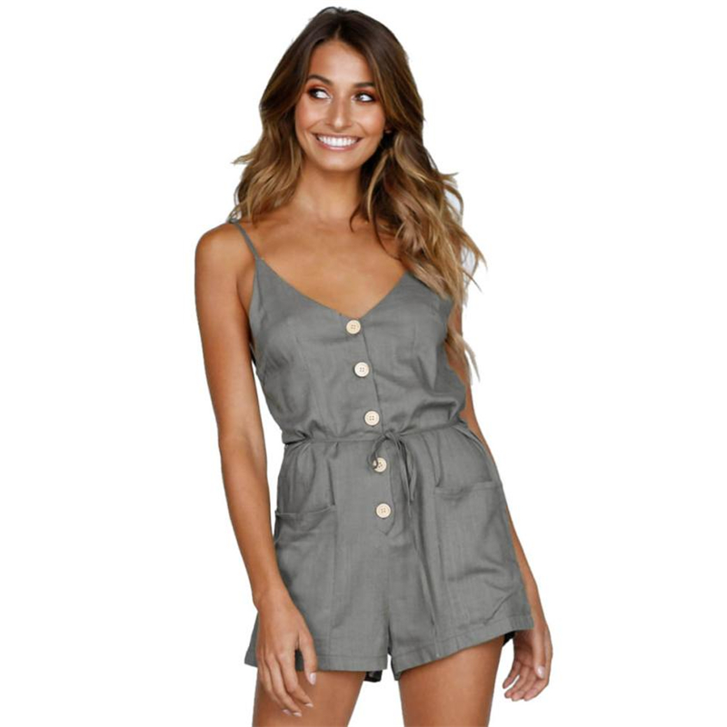 rompers womens jumpsuit summer Fashion Women V-Neck Pocket Bandage Button Down Rompers Short Jumpsuit Drop shipping O0622#23