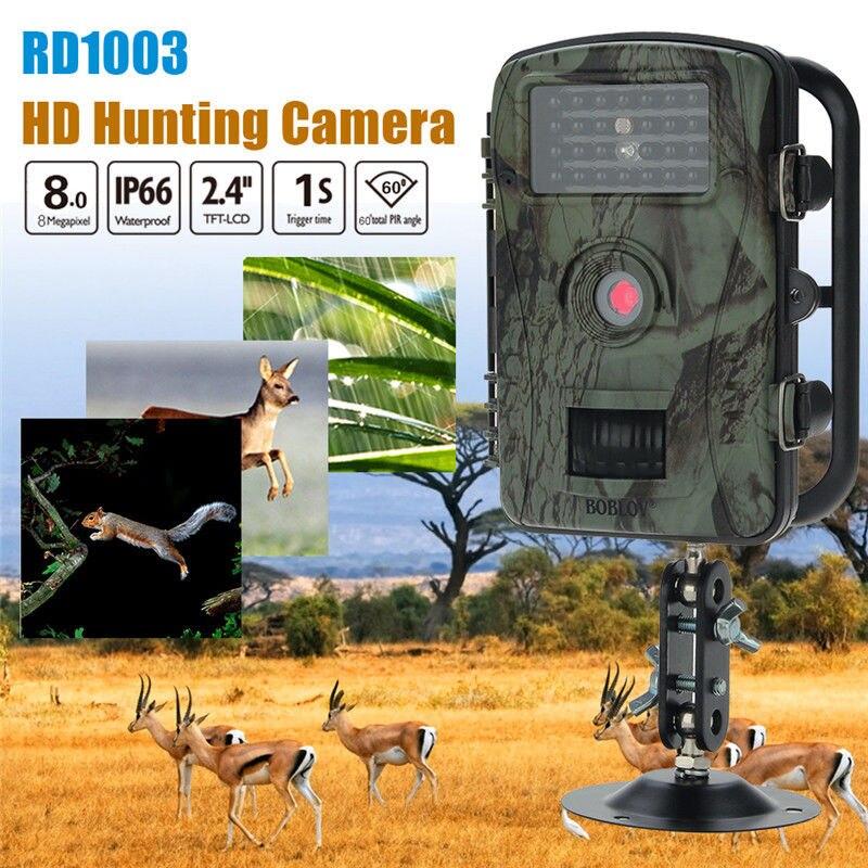 Free shipping!Boblov RD1003 8MP 2.4 LCD Waterproof PIR 15 meters Night Vision IR Game Hunting Trail Security HD Camera Cam DVR waterproof 2 5 lcd 8 0 mp cmos solar power ir night vision hunting trail security camera