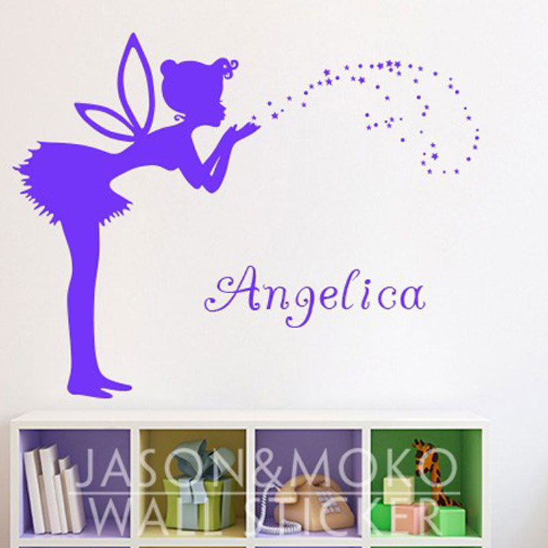 Lovely romantic fairy personalized customize name vinyl for Baby girl wall mural