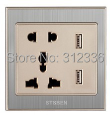 free shipping  international standard 5 Holes Socket  Wall Outlet Power multifunctional socket champagne gold USB socket 2100mA