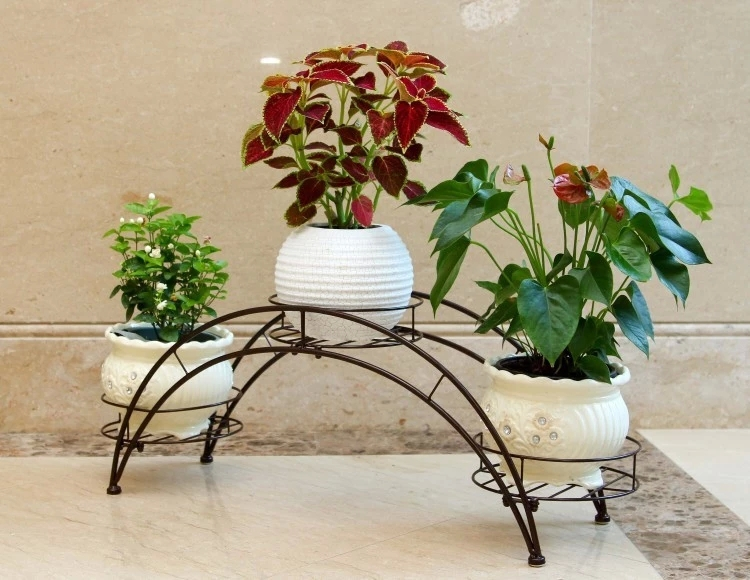 Captivating 80*24*31cm European Balcony And Indoor Flower Pot Holder Garden Flower Stand  Iron Flower Pergolas White Black And Copper Color In Flower Pots U0026 Planters  ...