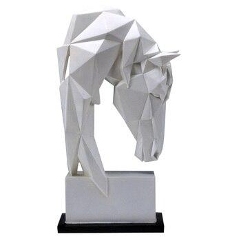 기하학 말 머리 동상 동물 예술 조각 수 지 공예 홈 장식 공예 룸 크리 에이 티브 크리스마스 선물 r651