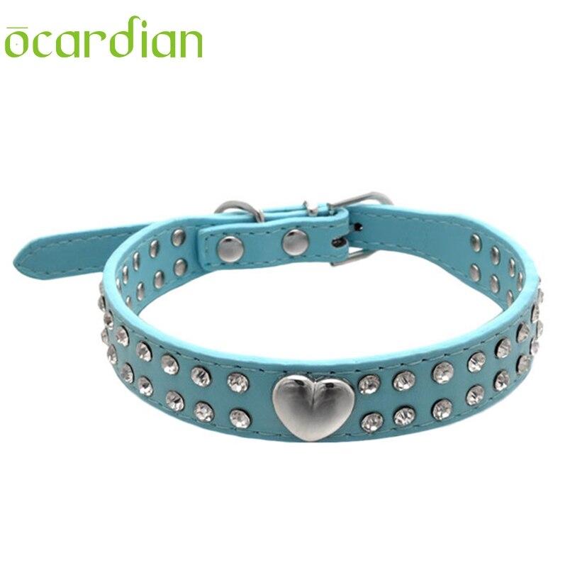 Ocardian Pet Collar Hot Bling Rhinestone PU Leather Crystal Diamond Puppy Pet Dog Collars #30 gift 1pc hot sale Drop shipping
