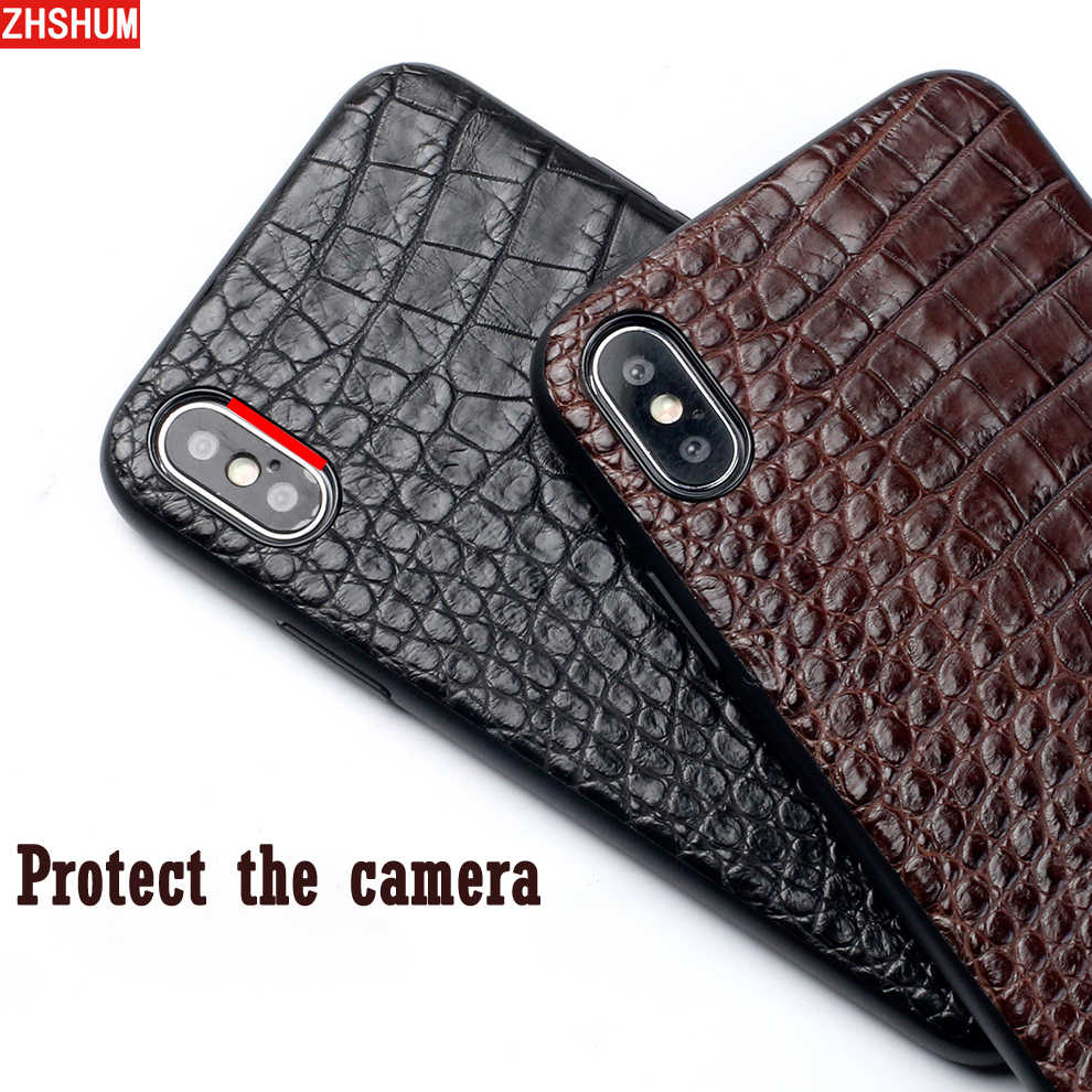 Funda de Cuero de cocodrilo genuino para Iphone X 7 Plus Iphone 8 6 S XS MAX XR lujosa funda trasera hecha a mano Croco para Iphone 6 SE
