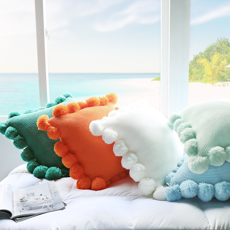 Enipate New Knit Cushion Cover Pure Color Pillow Acrylic Ball Tassel Sofa Bed Room Textile Adult Child Lover Beauty Home Dector