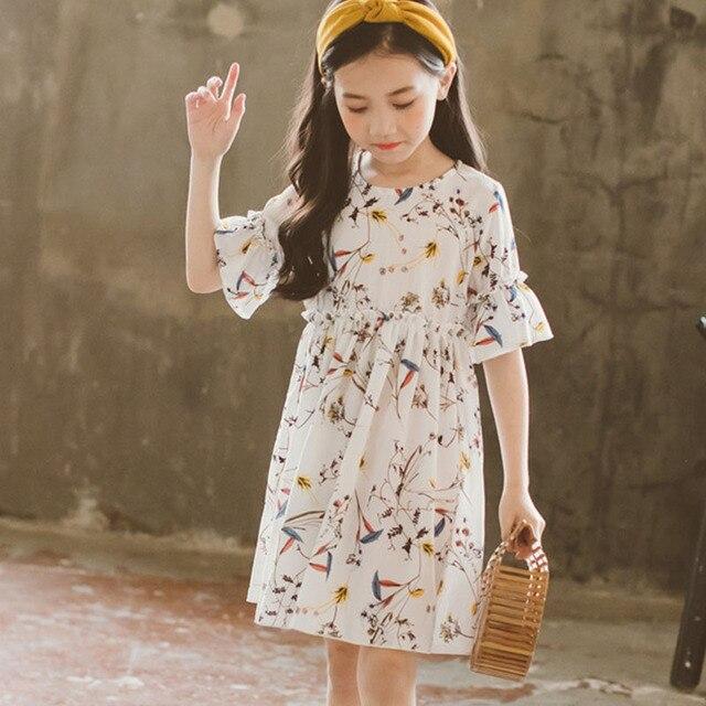 0cae195dc8c19 Mousseline de soie floral enfants robes pour les filles d été flare manches 2  4
