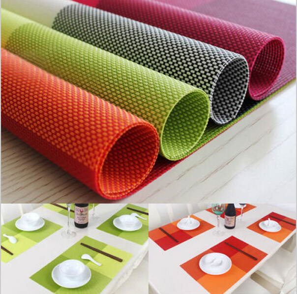 Set of 4 Easy to Clean Placemat fashion slip-resistant pad restaurant kitchen mats Home 45*30 PVC table mat(00147)