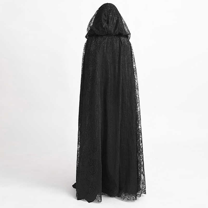 เกียร์ Duke Steampunk แม่มด Cape Gothic Black Hooded ลูกไม้ยาว Priestess Dark ฮาโลวีนเครื่องแต่งกายเสื้อคลุม Cape
