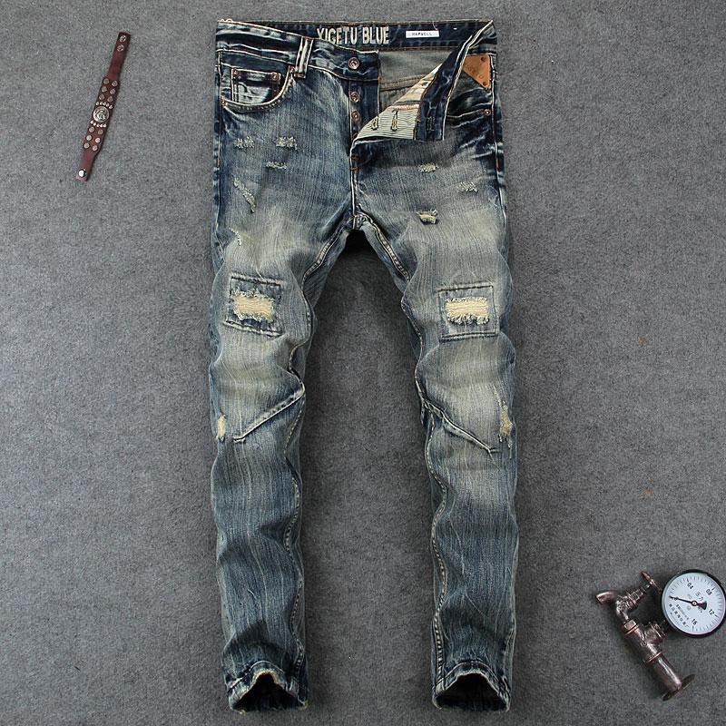 Nostalgia Retro Design Fashion Men Jeans European Stylish Dimensional Knee Frayed Hole Destroyed Ripped Jeans Men Biker Jeans