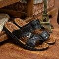 Los hombres Zapatos de Cuero de Verano Zapatillas Sandalias Planas Suaves de moda