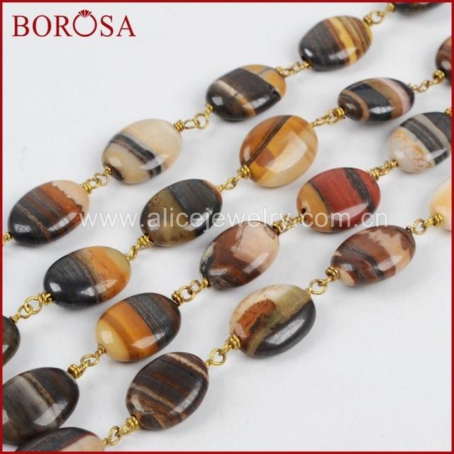 BOROSA Mode Gold Farbe Oval Eisen Tigerauge Perlen Draht Umwickelt ...