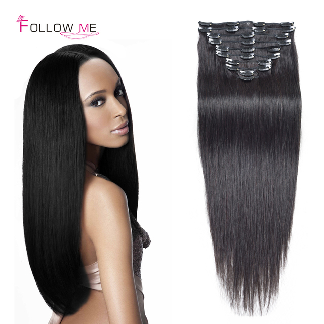 African American Remy Virgin Brazilian Clip In Human Hair Extensions