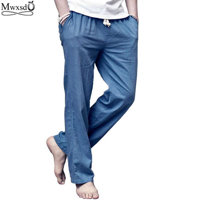 2018 új márka kiváló minőségű nyári vászon férfi laza lélegző nadrág Alkalmi vékony egyenes nadrág nadrág férfiak számára