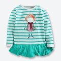 Nova Queda Roupas Para Meninas Manga Comprida Emenda Tarja Crianças camisetas Casuais T-shirt Para Meninas Roupas de Algodão Tops T 1-6 anos