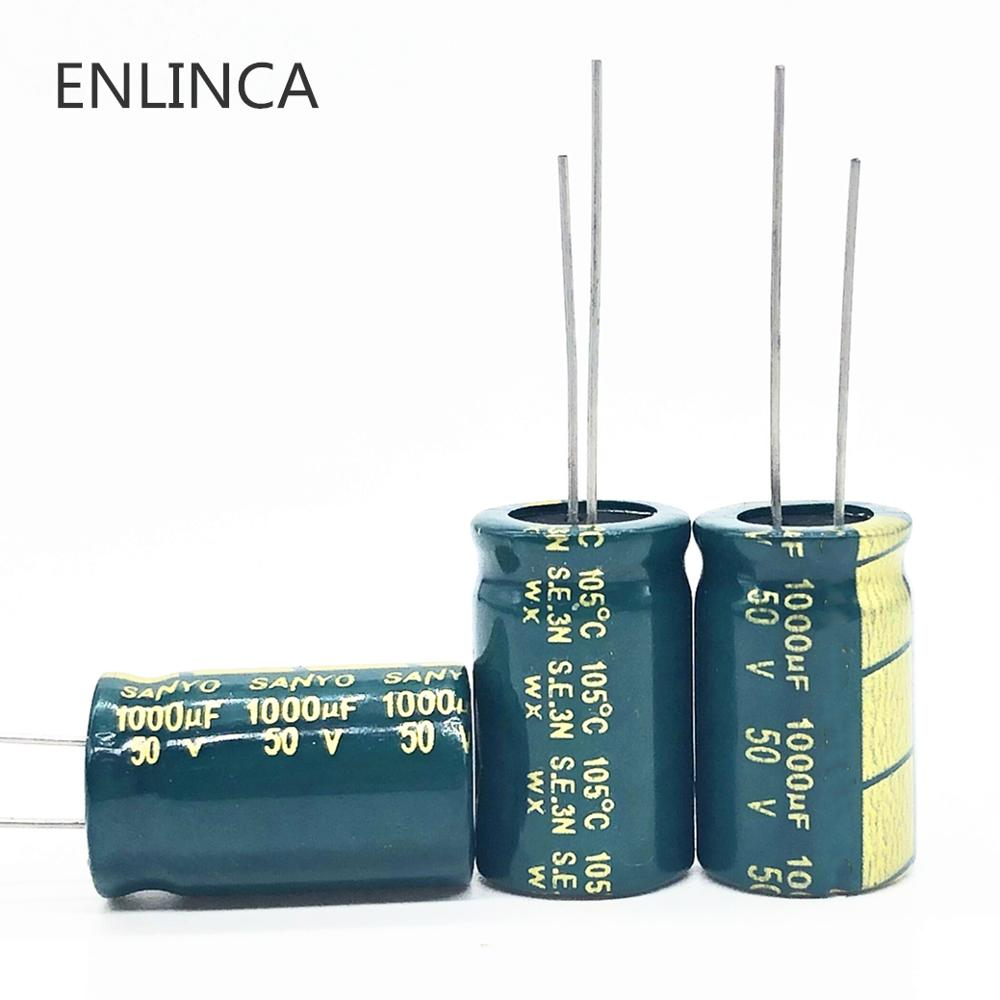 6pcs/lot T16 High Frequency Low Impedance 50v 1000UF Aluminum Electrolytic Capacitor Size 13*20 1000UF 20%