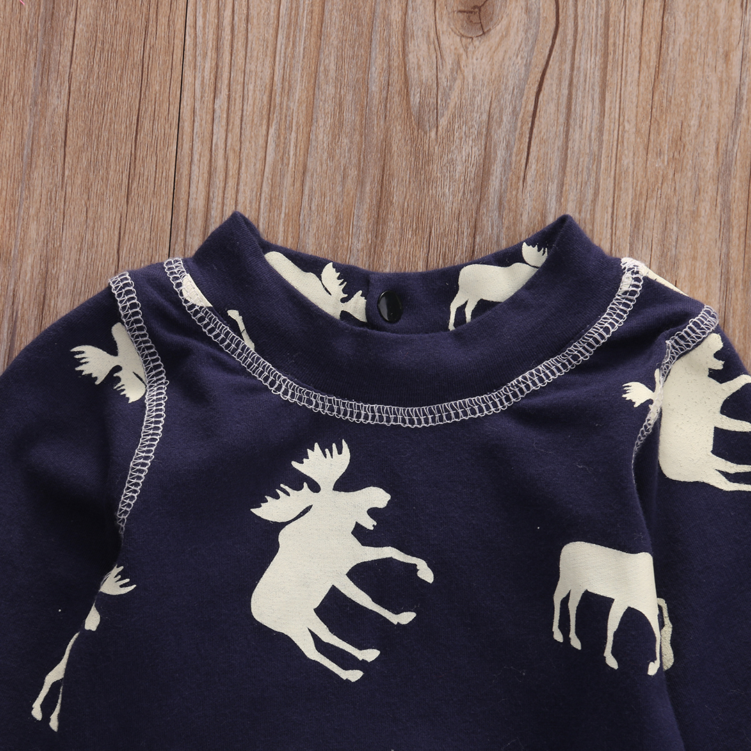 Fashon Newborn Infant Baby Girl Boy Moose Deer Long Sleeve Cotton Romper One-pieces Xmas Outfits Christmas 7